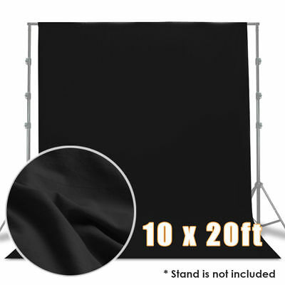10 x 20ft Polyester Black Muslin Photo Backdrop Photography Washable Non Glossy
