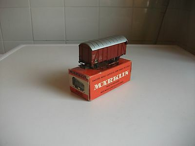 4506 Brown Box Car With Working Tail Lights Marklin Germany Ho Gauge (Boxed)