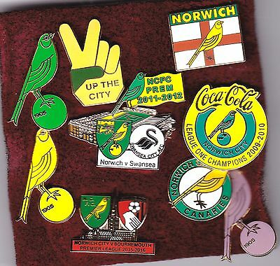 Norwich City collection of 10 football badges - perfect Christmas Present