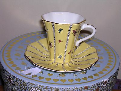 Wedgwood Tea Cup & Saucer  ~ Yellow Butterfly Design ~ Boxed