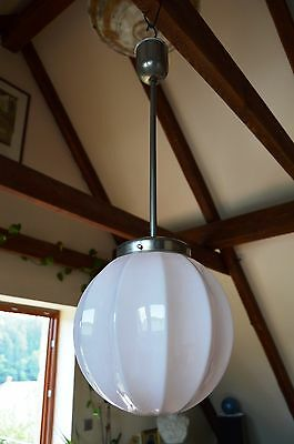 BEAUTIFUL CZECH ART DECO 30's Pink Glass Pendant LIGHT Fixture