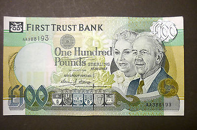 "1998 FIRST TRUST BANK LAST DATE £100 ONE HUNDRED POUNDS NOTE ""a/UNC"" D J Licence"