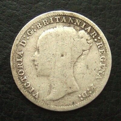 1874 VICTORIA YOUNG HEAD THREEPENCE : BRITISH .9250 STERLING SILVER COIN ..t125