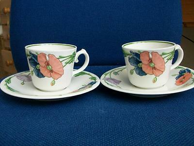 Villeroy & Boch Amapola - Two Cups & Saucers.