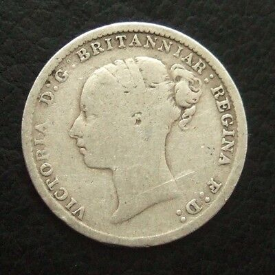 1884 VICTORIA YOUNG HEAD THREEPENCE : BRITISH .9250 STERLING SILVER COIN ..t123