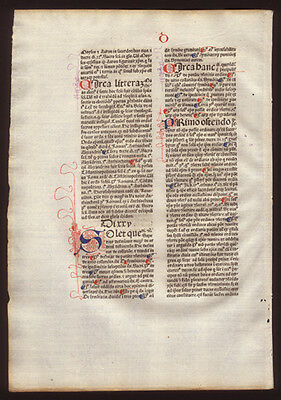539 Yr Old Incunable Commentary on  Sentences of Peter Lombard Bishop of Paris