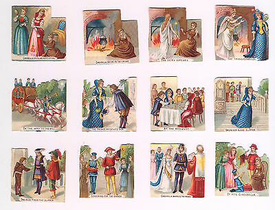 12 Small Embossed Victorian Scraps Cinderella with Captions Complete