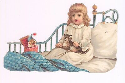 Lovely Victorian Scrap Girl in Bed with Cat and Jack in a Box VGC