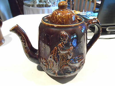 "c1851Bennington Rockingham Rebekah at the Well Raised Relief 8 1/2""Molded Teapot"