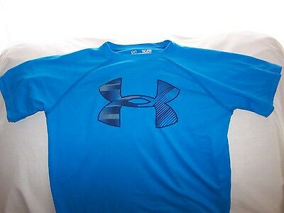 Boys Under Armour Blue Short Sleeve BIG LOGO Shirt  Small LOOSE FIT