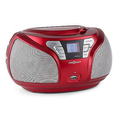 [OCCASION] Poste radio lecteur CD boombox portable bluetooth LCD AUX MP3 rouge
