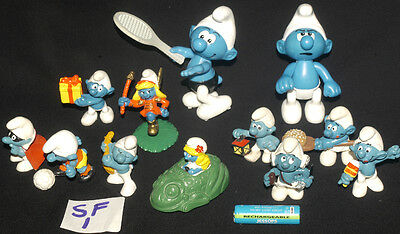 Vintage Smurfs Includes Rare Green Metal Car+Small & Large Figures Refsf1