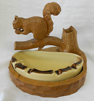 Rare Clement Dube Large Squirrel Wood Craving Canada Sculpture Signed