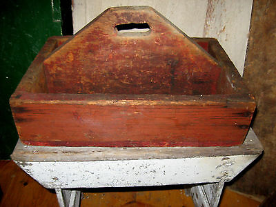 Awesome Antique Knife Box, Carrier With Cubbies Fabulous Red Old Paint,  Aafa Nr