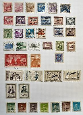 China -Useful Page of 40 x Mint & Fine used 1950s stamps