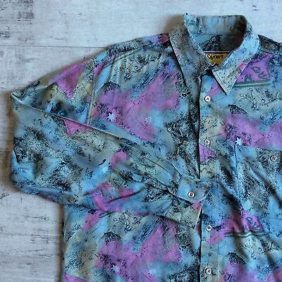 vtg 90s VISCOSE CRAZY PATTERN L.SLEEVED SHIRT HIPSTER BAGGY FIT FRESH LARGE 15""