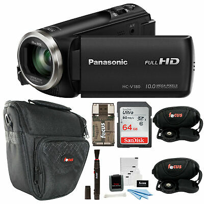 Panasonic HC-V180K Full HD 1080p Camcorder with 64GB Accessory Bundle