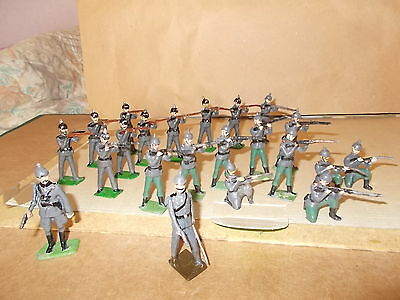 Painted Metal Ww1 Prussian 1St & 5Th Rifles 20 Soldiers & 2 Officer- 54Mm Approx