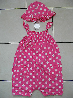 Girls Gorgeous Next Pink Polka Dot Short Summer All In One Outfit & Hat 2-3 4 Y