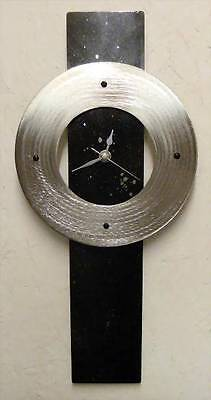 Black Silver Metal Wall Clock Stars Space Theme Time Etched Stainless Steel Disc