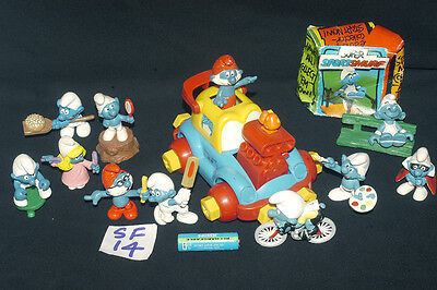Vintage Smurfs Selection With Smurf Vehicle  Ref Sf 14