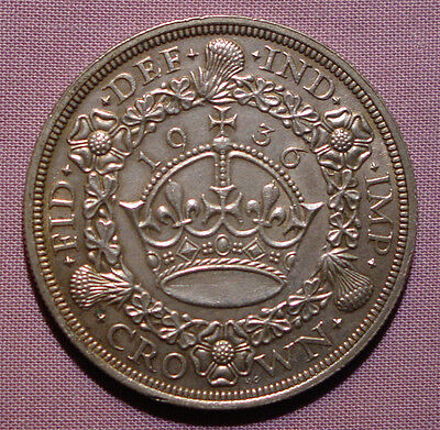 1936 King George V Silver Wreath Crown - Scarce Coin
