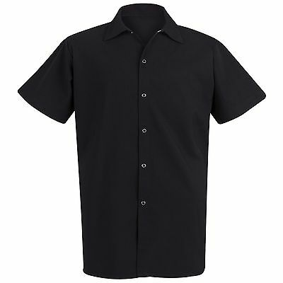 Long Black Cook Shirt Large Short Sleeve Chef Designs Unisex 100% Polyester New
