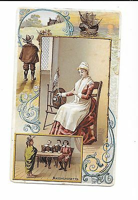 """1890s ANTIQUE VICTORIAN TRADE CARD - ARBUCKLE COFFEE """"MASSACHUSETTS"""" - PICTURED"""