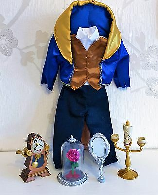 """Disney Store NEW! 12"""" Beast Classic Doll Outfit Rose Mirror Lumiere Cogsworth"""