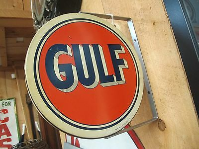 """Vintage 12"""" Diameter Double Sided Gulf Advertisement Spinner Sign"""
