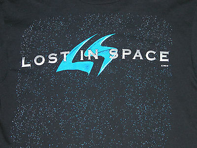 Rare Vtg 90s LOST IN SPACE LOGO T-Shirt Space Productions Mens M Long Sleeve
