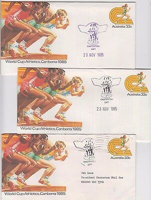 Stamp 1985 group 3 World Cup Athletics Canberra PSE's CASTERTON Gift Victoria