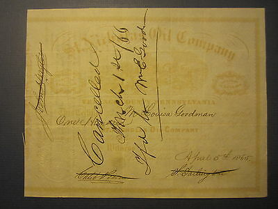 Old 1865 - ST. NICHOLAS Oil Co. - STOCK CERTIFICATE - Venango Co. Pennsylvania