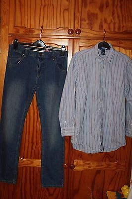 Boys Outfit Blue Zoo Jeans And Gap Striped Shirt Age 13-14 Years