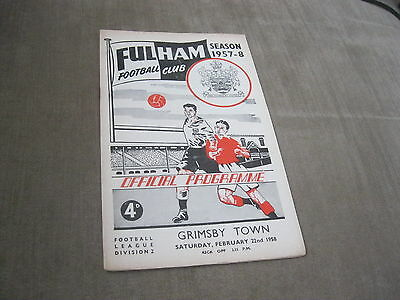 FULHAM v GRIMSBY TOWN 22/2/58, DIVISION 2