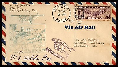 Bangor Me Aug 3 1931 Ffc Am 1 Airmail Cover Signed By Pm W/ Ret To Sender Aux