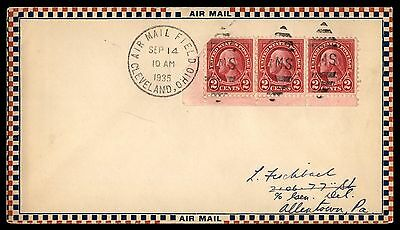 Cleveland Oh Sep 14 1935 Ffc Am 17 Air Mail Cover W/ Strip Of 3 To Allentown Pa