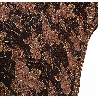 Vintage Sari Hand Beaded Pure Georgette Silk Fabric Saree Brown Indian Sequins