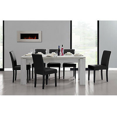 [en.casa] DINING TABLE 180x95 OAK WHITE + 6 CHAIRS BLACK DINING ROOM TABLE NEW