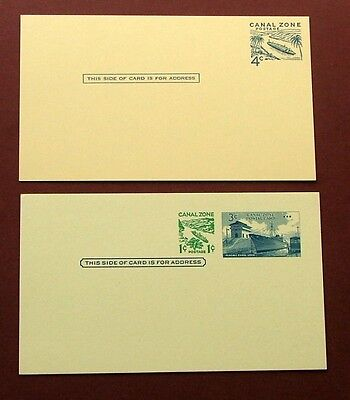 CANAL ZONE 1950/60s - POSTAL STATIONERY CARDS X 2 (UNUSED-4c) - EXCELLENT
