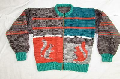 Vtg 50s 60s Wool Sweater Squirrel Theme Kids Rockabilly Nice Colors Cowichan