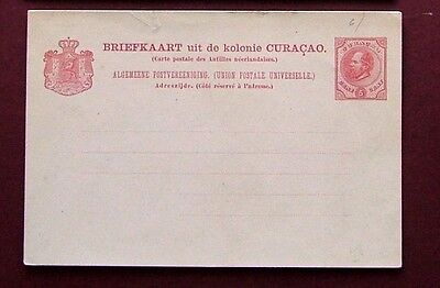 CURACAO 1873 - POSTAL STATIONERY UNUSED POSTCARD (5 c)- VG CONDITION