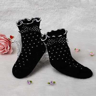 New 1 Pair of Girls Black and Silver Dotted Frilly Socks 1-2 Years