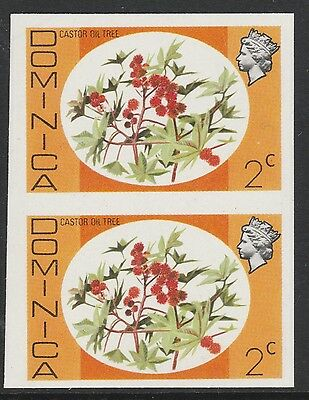 Dominica (S91) 1975 definitives 2c Castor Oil Tree IMPERFORATE PAIR  unmounted