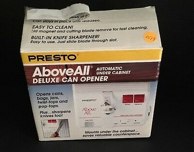 Presto Above All Automatic Under Cabinet Deluxe Can Opener Knife Sharpener 05609