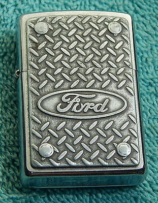 Ford Zippo Lighter-Working Condition-Diamond Plate-D O2-Free Us Ship-No Reserve