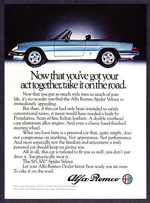 """1983 Alfa Romeo Spider Veloce photo """"Take Your Act on the Road"""" promo print ad"""