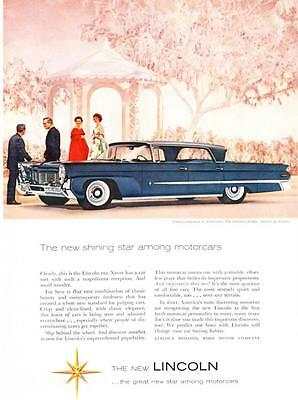 "1958 Lincoln Landau Sedan photo ""The New Shining Star"" vintage print ad"