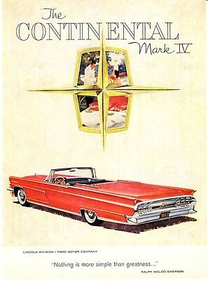 1959 red Continental Mark IV Convertible art vintage print ad
