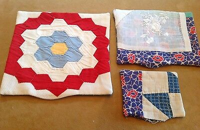 Three Antique Patchwork Quilt Pillows, Doily, Red, White, Blue, Unstuffed